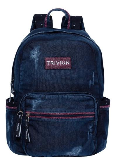 Mochila Jeans Azul Triviun Acabamento Destroyed