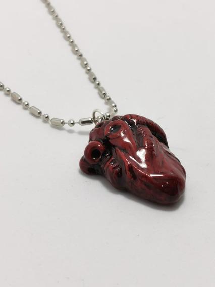 Collar Dije Corazón Realista Medicina Cardiólogo Envío Grati
