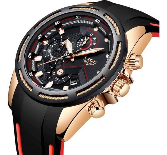 Relógio Masculino Lige Luxo Casual Esportivo Silicone