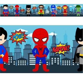 Faixas Border Super Herois Cute Baby Modelo 01 - 5 Metros