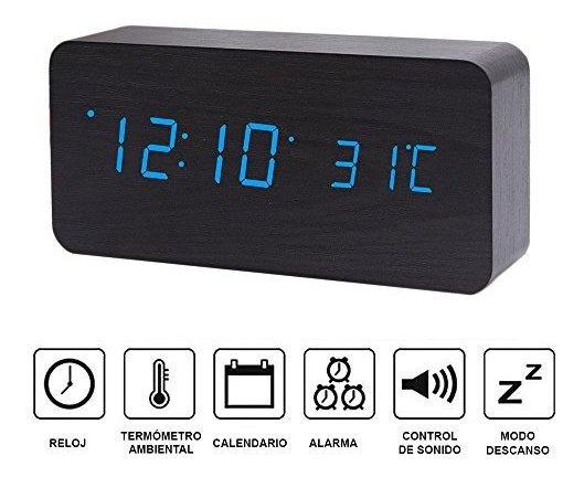 Reloj Despertador Digital Minimalista Madera Alarma Tempera