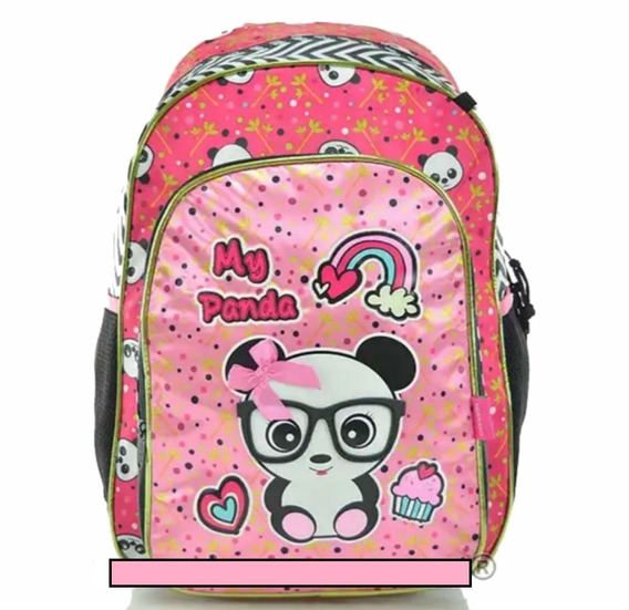Mochila Escolar Grande Menina Infantil Feminina Costas Panda
