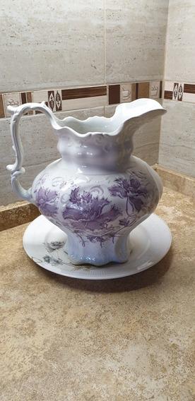 Jarrón Porcelana Inglesa Antiguo C/plato (precio Negociable)