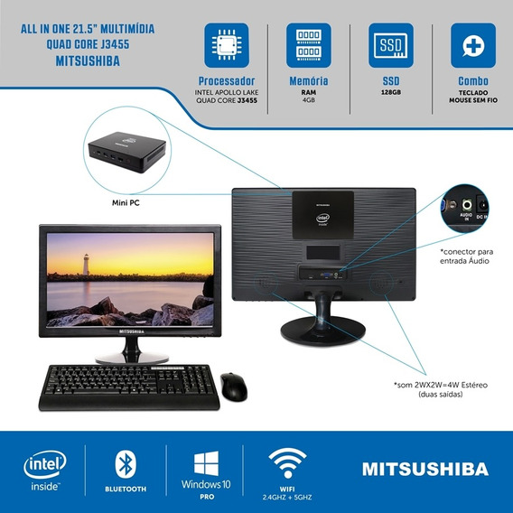 All In One 21.5 Celeron Quad Core J3455 4g Ssd128g Pro