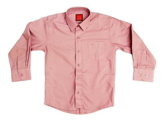Camisa Manga Larga Vestir Oscar Rosa Viejo Tirantes Con Moño