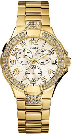 Relógio Guess Prism Tom Dourado Swarovski Feminino Quartzo