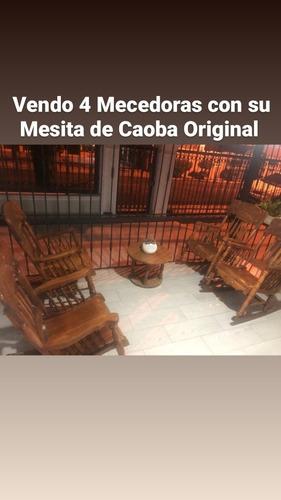 4 Mecedoras Con Su Mesita De Caoba Original