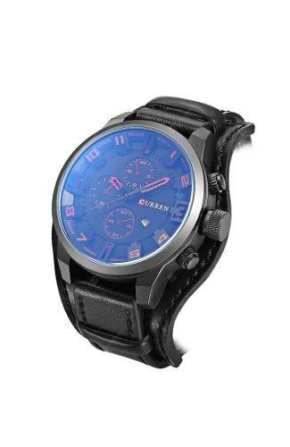 Relógio Curren 8225 Quartzo Masculino Preto.