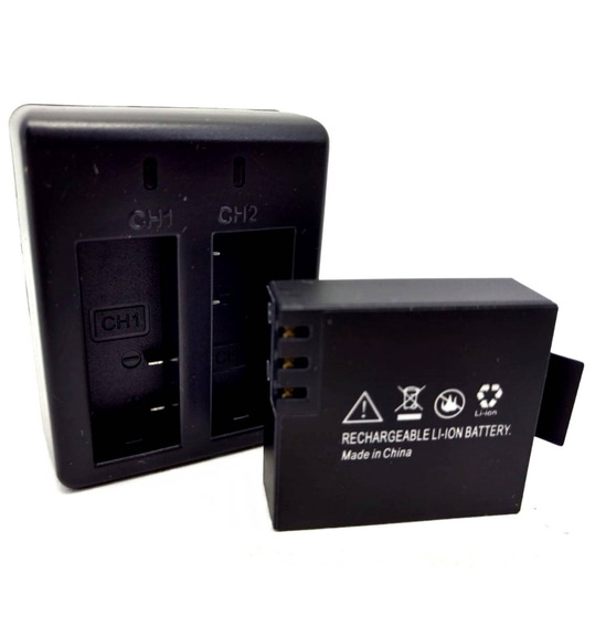 Kit 1 Carregador Duplo Para Câmera 1080p + 1 Bateria 900mah