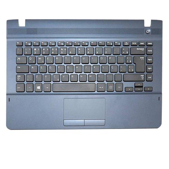 Teclado Para Notebook Samsung Np270e4e-kdvbr -preto - Portugues Br - Com Topcase Azul