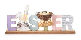 Placa De Mesa De Madera Feliz Pascua