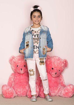Calça Pituchinhus Em Sarja Rosa Com Patches De Ursos