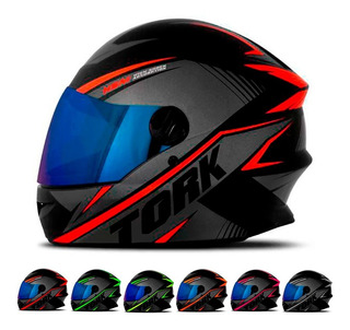 Capacete Para Moto Protork R8 Fechado Viseira Iridium Loi
