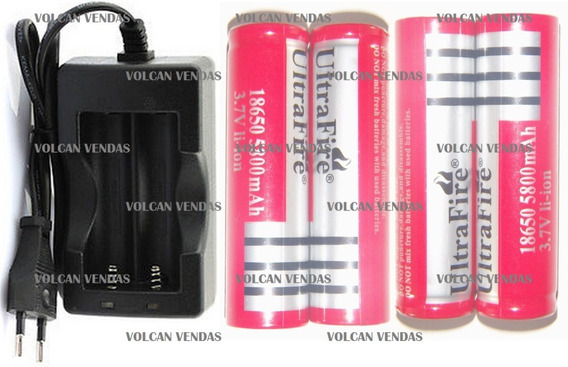 Carregador Duplo + 4 Bateria Ultrafire 18650 Blindada 5800mh