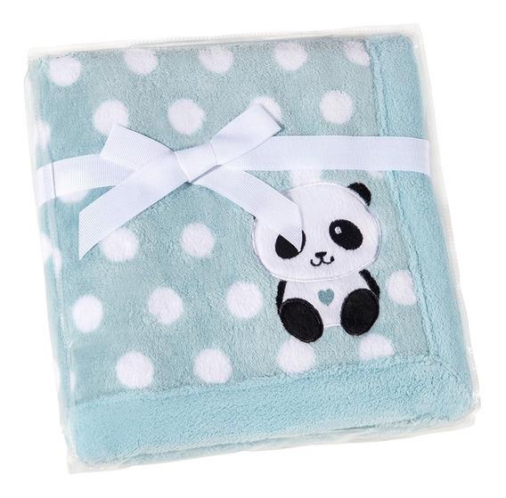 Manta Fleece Bebê 76 Cm X 102 Cm Lepper Bordado Panda Poá