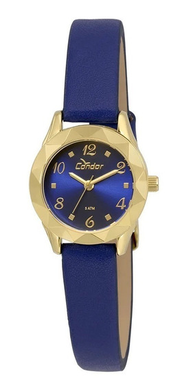Relogio Feminino Dourado Condor Couro Azul Pequeno Co2035kre