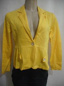 Casaco Blazer Amarelo Algodão Rolando M Usado Bom Estado