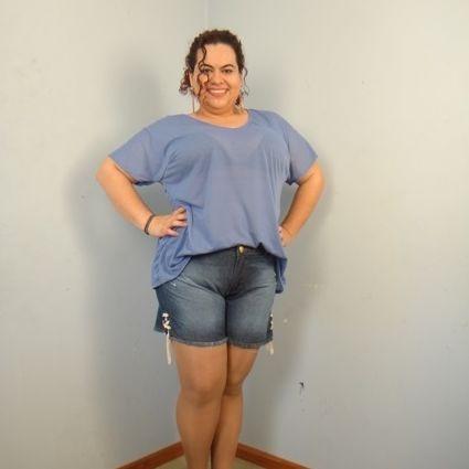 Shorts Jeans Com Detallhe Barra Cordão Plus Size (44 Ao 58)