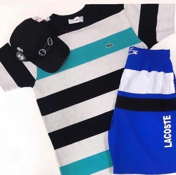 Kit P/ Homem Chique Lacoste Camiseta+bermuda Promoção