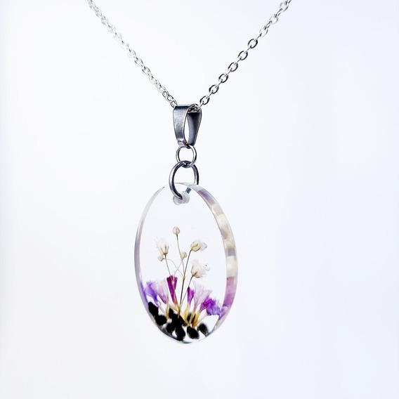 Collar Acero Inoxidable Flores Y Obsidiana Encapsulado