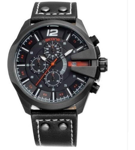 Relógio Masculino Skone Original Couro Exército Funcional