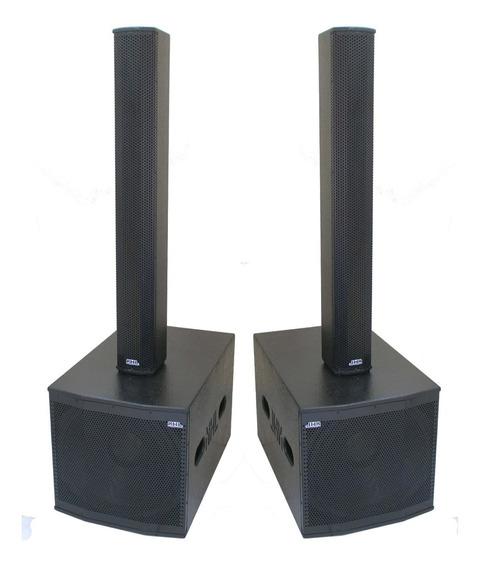 Caixa Ativa Line Array 4800w Stereo Kit Sub 18 8x4 Titanio Sistema Sonorização Ativo Profissional Qualidade Quadri-ampli