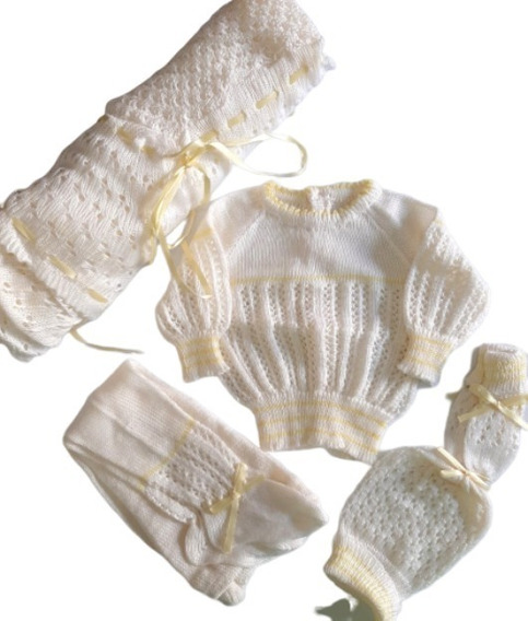 Ajuar Conjunto Set Tejido Bebé Recién Nacido 0-3meses.nuevos