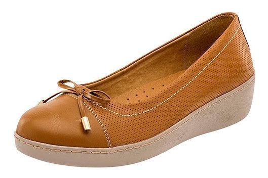 Zapato Piso Moño Cerrado Piel Camel Dama Zoe D57319 Udt