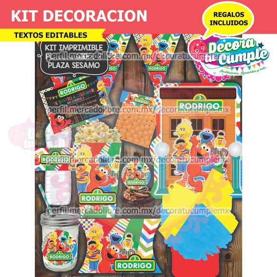 Kit Imprimible Plaza Sésamo Decoración Invitación C10