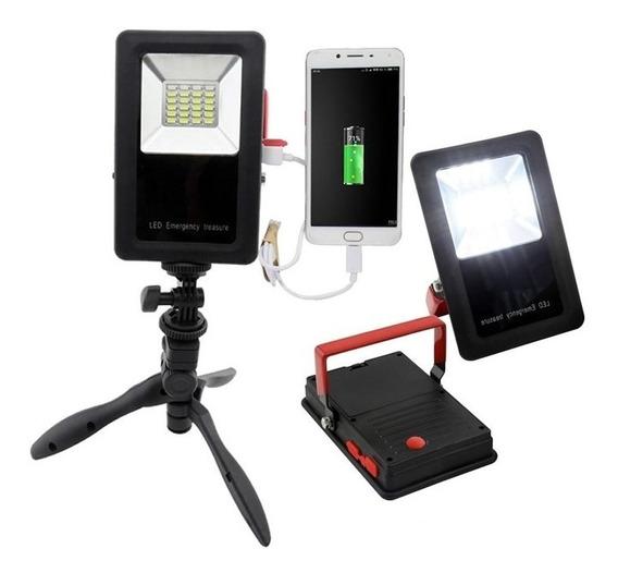 Refletor Holofote Led Emergencia Colorido Com Power Bank