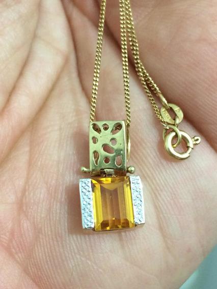 Colar Em Ouro Amarelo 18 K, Citrino E Ouro Branco.