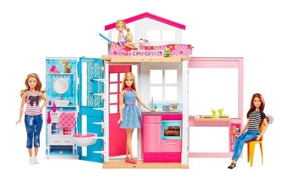 Casa Real 2 Andares Com Boneca Barbie Dvv48 Mattel