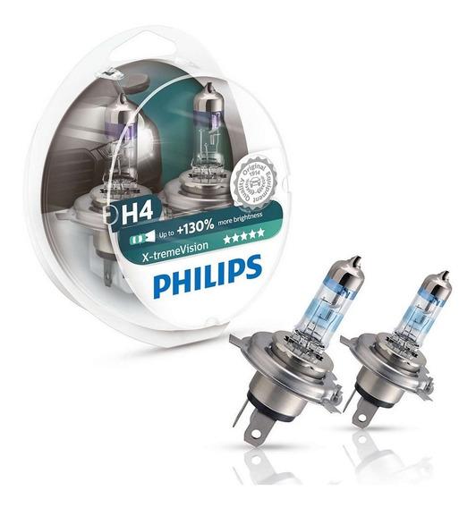 Kit Lâmpada Philips X-treme Vision H4 3350k 55/60w 12v (par)