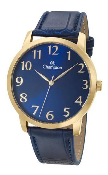 Relógio Masculino Dourado Champion Couro Azul Grande + Nf