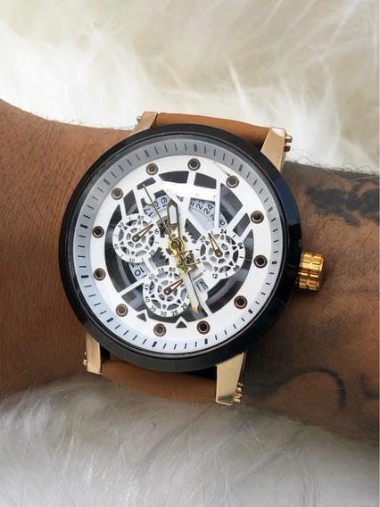 Relógio De Pulso Masculino Luxo Pulseira Couro + Caixa