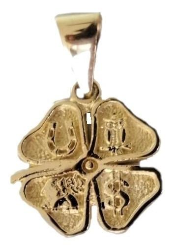 Medalla Trebol Buena Suerte De 4 Hojas En Oro De 10 Kilates