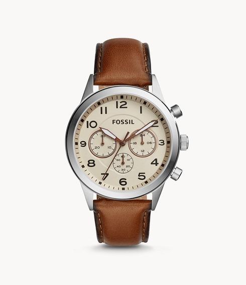 Relógio Couro Marrom Flynn Pilot Chronograph Fossil