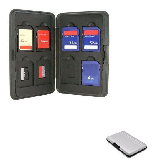 Case De Aluminio Porta Cartão Memória - 8 Sd + 8 Micro Sd