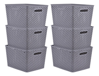 Set 6 Cajas Organizadoras Rattan Plástico Con Tapa Begônia
