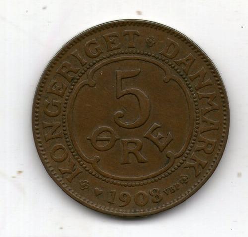 Dinamarca Moneda 5 Ore 1908 Km#806 - Argentvs