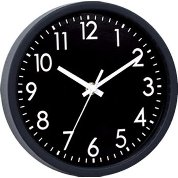 Relógio Parede Plástico Basic Black Preto 20x3,8x20 Cm