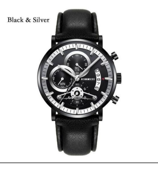 Relógio Luxo Mens De Aço Inoxidável Com Pulseira De Couro