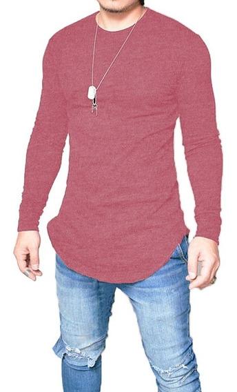 Camiseta Oversized Swag Longline Camisa Manga Longa Bordô