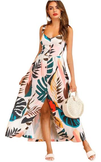 Vestidos De Fiesta Largo Floral Tropical A Botones