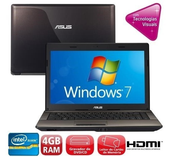 Notebook Asus X44c Intel Inside 4gb 320hd Hdmi Promoção