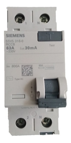 Interruptor Breaker Diferencial Siemens 2p 63a 30ma