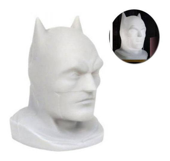 Luminária De Mesa Busto Do Batman Branco Dc Comics
