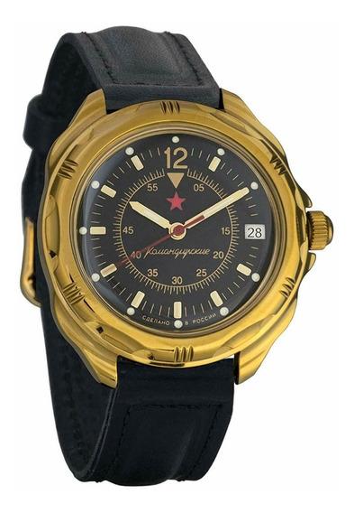 Reloj Vostok Ruso Mod. Komandirskie (cuerda) Negro-dorado