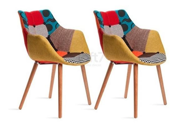 2 Cadeiras Poltrona Estofada Eleven Vintage Várias Cores