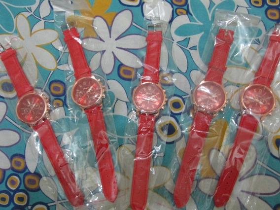 Kit Com 5 Relogios Femininos Vermelho Geneva Pulseira Couro